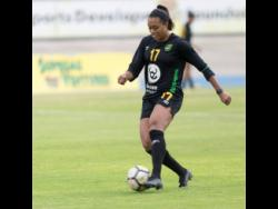 Allyson Swaby dribbles a ball during a training session with the Reggae Girlz at the National Stadium on January 18, 2019.