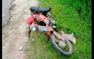 A motor cycle involved in a crash.