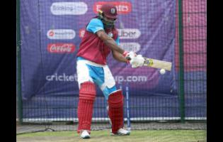 Windies batsman Chris Gayle in the nets during a training session yesterday ahead of their ICC World Cup match against India at Old Trafford in Manchester, England today.