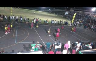 A netball game on during a special rally held under lights at the newly renamed Annotto Bay Multipurpose Complex in St Mary on Sunday.
