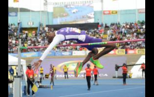Kingston College's Blaine Byam wins the Class Two Boys high jump, clearing 2m on day five of the ISSA/GraceKennedy Boys and Girls' Athletics Championships at the National Stadium in Kingston on Saturday, March 30, 2019.