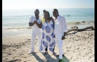 Richie Stephens (left) Yvonne Sterling and Little Lenny on set of the video shoot for 'Thank You Lord'.