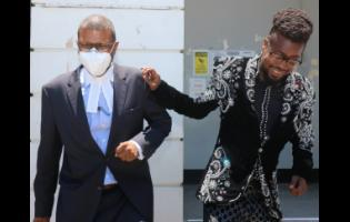 Dancehall superstar Beenie Man (right) and his attorney, Roderick Gordon, leave the St Elizabeth Parish Court yesterday after the artiste was fined $150,000 for breaching the Disaster Risk Management Act.
