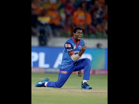 Delhi Capital's Keemo Paul celebrates the dismissal of Sunrisers Hyderabad's Kane Williamson during the VIVO IPL T20 cricket match between Sunrisers Hyderabad and Delhi Capitals in Hyderabad, India, yesterday.