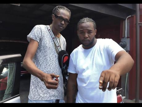 Contributed Deadline Recordz producer Jermaine 'Finga' Parchment (left) and dancehall artiste Teejay.