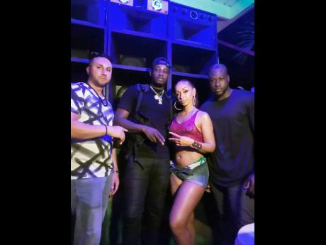 (From left): Producer Jonny Blaze, dancehall hitmaker Ding Dong, international recording artiste Mya and producer/entertainer Stadic on set at Forever Young Roof Top Club on West Street, downtown Kingston.