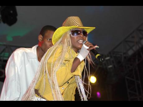 Female DJ star Spice doing her thing on stage at Reggae Sumfest last year.