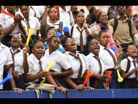 Students of St Andrew Technical High School are ecstatic after their team's penalty shoot-out win over Wolmer's Boys in the semi-final of the ISSA/Digicel Manning Cup at the National Stadium in St Andrew, yesterday.