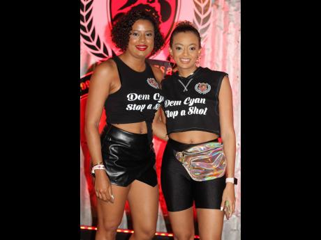 In personalised Coppershot gear, sisters Nicola-kaye (left) and Renee Barnett came out to celebrate long-time favourite sound system.